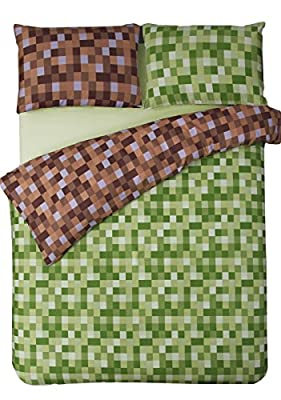 HBS Pixel Bedding Set Single Bed Duvet / Quilt Cover Bedding Set Pixel Squares Reversible Bedding Duvet Cover with Pillowcase Green & Brown - cheap UK light store.