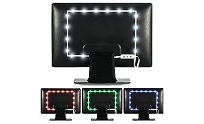 Luz de Fondo en Color Luminoodle para TV -Mando a Distancia & Controlador Incorporado - Tira Adhesiva de luz Ambiente LED RGB con alimentación USB para Pantallas Planas LCD y monitores PC (1 Metro)