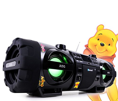 Stereoanlage Soundbox Ghettoblaster Boombox CD MP3 Bluetooth Radio mit Winnie Pooh Sticker