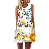 Tuniken Pullover Streetwear Bluse,Damen Loose Summer Vintage ärmelloses 3D Floral Print Short Minikleid (Q, L)
