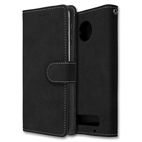Fußball 16 Box Case (Motorola Moto Z Play Hülle, Chreey Matt Leder Tasche Retro Handyhülle Magnet Flip Case mit Kartenfach Geldbörse Schutzhülle Etui [Schwarz])