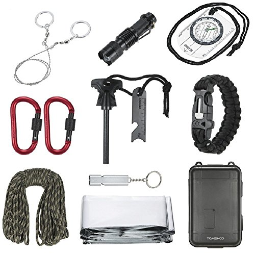 TOMSHOO 11 in 1 Outdoor Survival Kit Multi-Purpose Emergency Equipment First Aid Survival Gear Tool Kits Set for Outdoor Travel Hiking Camping Biking Climbing