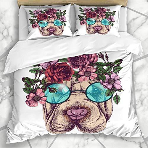 Bettbezug-Sets Blumen Hippie Sharpei Rosen Kranz Runde Sonnenbrille Kopf Hund Boho Gesicht Brille Haustiere Design Mikrofaser Bettwäsche mit 2 Pillow Shams