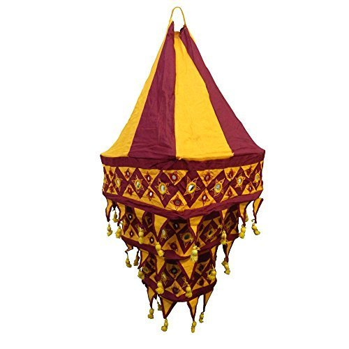 Lampenschirm Laterne quadratisch 70 cm Pendelleuchte Baumwoll-Patchwork Wohnen Dekoration Beleuchtung Innenbeleuchtung (bordeaux - orange) (Baumwolle Laterne)