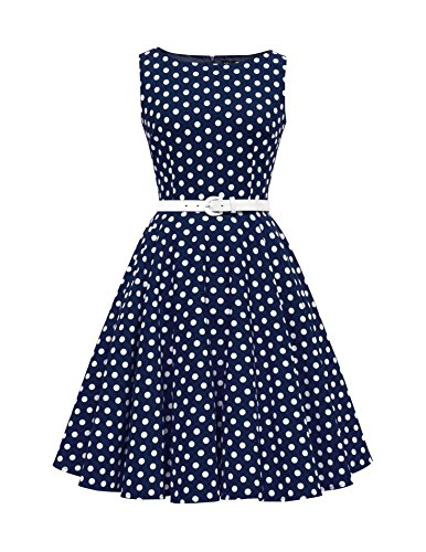 BlackButterfly 'Audrey' Vintage Polka-Dots Kleid im 50er-Jahre-Stil (Nachtblau, EUR 36 - XS) -