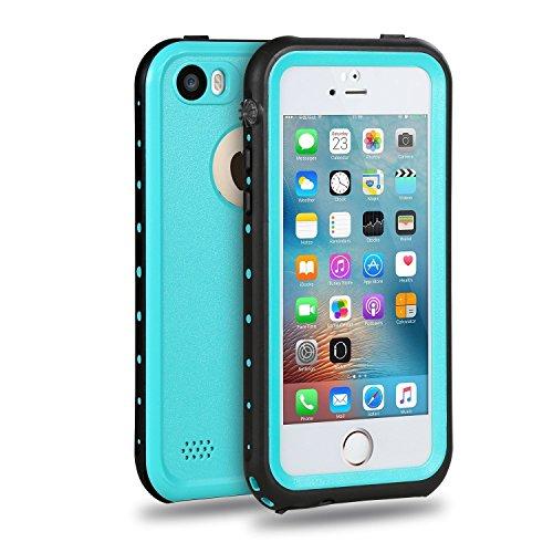 Merit Funda Impermeable para iPhone SE , Carcasa contra Agua,Golpe y Polvo ,Sellada Plena,Funda de Protección,Protector para iPhone SE/5/5s (Azul)