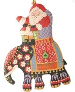 Handmade Father Christmas on Elephant Decoration