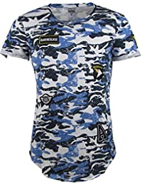 T-Shirt - Camouflage Look - Army Style - Mit Patches - blau