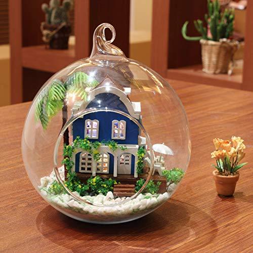 GGsmd DIY Spielzeug DIY Hütte Romantische Ägäis Handmontiert Glas Kugel Haus Modell 12X12X12Cm Mini Edition Liebe Ägäis (Halloween-kostüm-ideen, Farbe Edition)