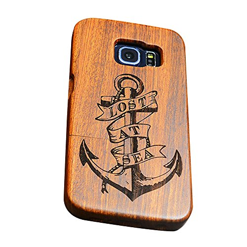 Dual Kirschholz (Forepin® Natur Holz Hülle Handyhülle Echtem Schutz Schale Hart Cover Case Etui für Samsung Galaxy S7, Wood Handy Schalen - Anker)