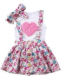 Ropa Bebe Niña Recien Nacido Verano 0 a 3 6 12 18 24 Meses - 3PC/Conjunto - Rosa Forma de Corazon Camiseta sin Mangas + Pantalones Cortos Florales + Banda de Pelo