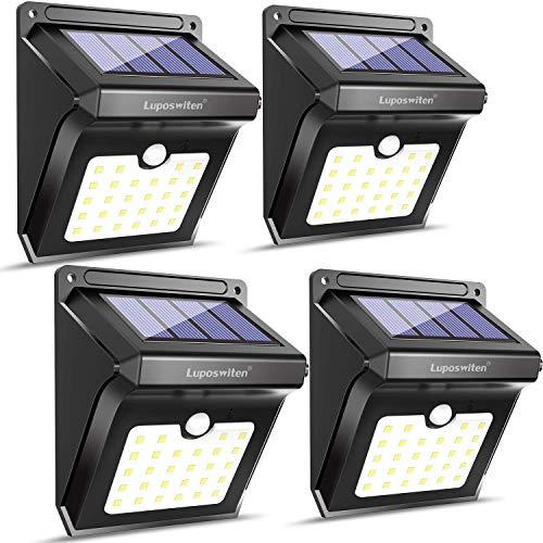 28 LED Solarlampen für Außen,Luposwiten Solarleuchten mit Bewegungsmelder Aussenbeleuchtung Sicherheitslicht für Patio,Wand,Flur,Treppen,Zaun,Hof,Einfahrt,Terrassen Solarlichter Garten Solar Licht Außen-4Stück,IP65 Wasserdicht