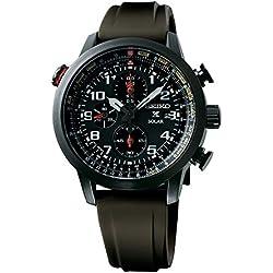 Seiko men's Quartz Watch Chronograph Display and Silicone Strap SSC353P1