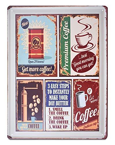 Kate Retro-Blechschilder, Antik-Optik, für Heimposter, Bastelbedarf, Kaffee, Bier und Getränke, authentisch, 30 x 40 cm Coffee Lovers ()