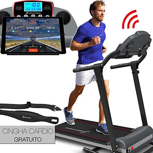 Tapis roulant Sportstech F10 con App controllo Smartphone, cintura di impulsonel valore di 39,90 € inclusasa, Bluetooth, 1HP, 10KM/H, camminare e correre con 13 programmi - compatto e facile