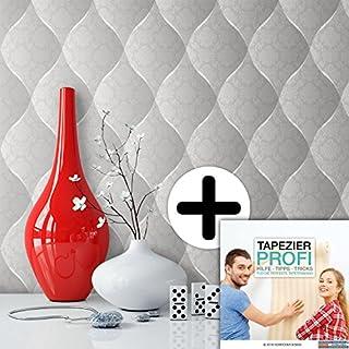 Tapete Edel Vinyl in Grau , schönes Floral Design und purer Luxus Effekt , moderne 3D Optik für Wohnzimmer, Schlafzimmer, Flur oder Küche inkl. Tapezier Profibroschüre mit Tipps für perfekteWände