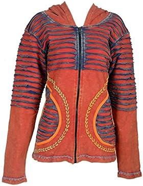 De la Mujer Multicolor piedra lavada de algodón Cardigan con adjuntar la capilla Razor Cut & Bordado