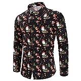 Yvelands Herren Bluse lässig Schneeflocken Santa Candy gedruckt Weihnachten Shirt Top (EU-50/XL,Schwarz4)
