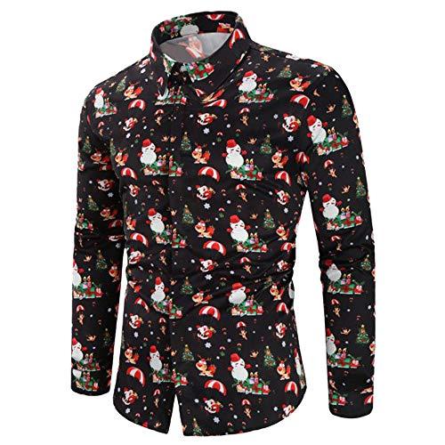 Mymyguoe Männer lässig Schneeflocken Santa Candy gedruckt Weihnachten Shirt Top Bluse Sweatshirt Freizeitjacke Pullover Langarmshirt Pulli Shirts Herbst Winter Winterpullover