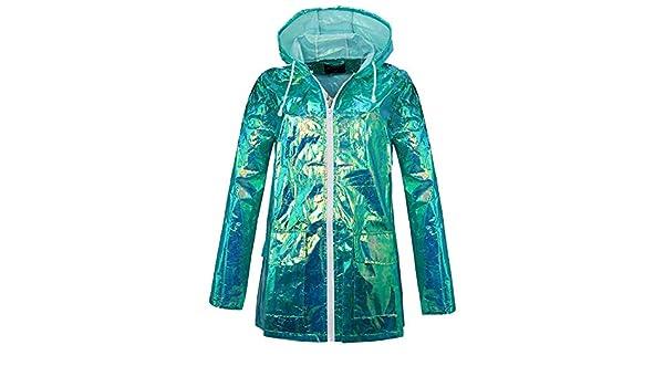 Damen Regenbogen Streifen Duschfest Mit Kapuze Mac Fishtail Regenmantel Jacke