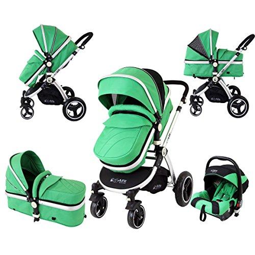 iSafe i-Safe System - Leaf Trio Travel System Pram amp; Luxury Stroller 3 in 1 Complete With Car Seat