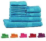 Trident Combo Set di 10 Asciugamani da Bagno Mani-Viso in Cotone, qualità 400 g/m², Colore: Blu Ottanio