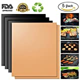 #8: Copper Grill Mat,Non Stick BBQ Baking Mat Set of 5 Reusable,Easy to Clean PTFE Teflon Fiber Grill Roast Sheets for Gas, Charcoal, Electric Grill (Gold and Black)