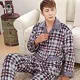 MQC Herren-Schlafanzug, Flanell, für den Winter, dick und warm, 1, XXX-Large
