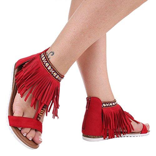 Ital-Design Damen Schuhe, D-11, Sandalen Fransen Rot