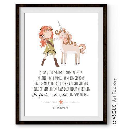 ABOUKI Kinder Poster Kinderzimmer Kunstdruck Bild - ungerahmt - mit Mädchen und Einhorn Motiv