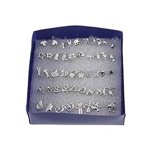 Nido del Bimbo 1493 - Punti Luce Orecchini 48 pezzi (24 paia) - Per Orecchie - Con Fermi in Gomma - Metallo 925