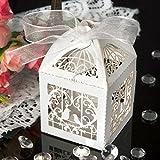 Lote de 25 cajas huecas, decorativas, con lazo y diseño de jaula de pájaros, ideales como decoración de bodas o fiestas, para guardar bombones, regalos y mucho más
