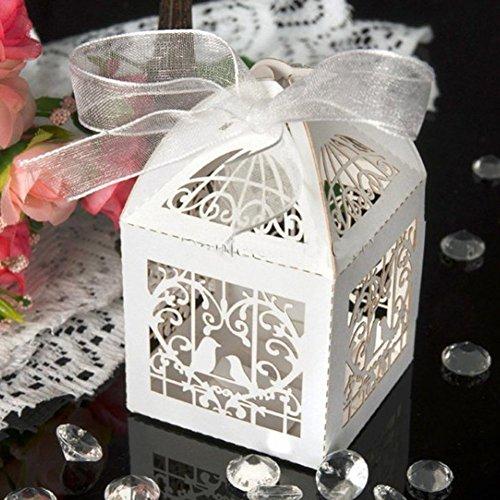 ohl Candy Box Love Birds Love Herz Candy Box Geschenk-Boxen mit Band Hochzeit Party Favor Cremefarben/Weiß (Billige Bulk Candy)