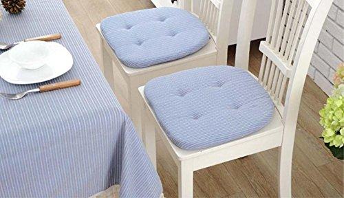 Eazyhurry dünn rund Stuhl Pad für Office Home Rutschfeste Stuhl Kissen Unterlagen Saugen Flüssigkeiten mit elastische Bandage, 50% Baumwolle, 50% Polyester, blau gestreift, 15.7
