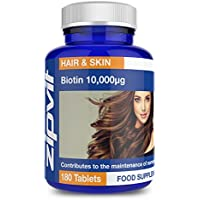 Biotin 10,000mcg | 180 Tablets | for Hair & Skin | Six Months Supply | Vegetarian Society Approved