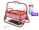 #9: Akshat Stroller Cradle Baby bed with swing feature for babies up to 18 months and Free Kids Feeding Bottle