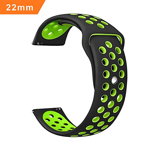 Ibazal cinturino gear s3 silicone, gear s3 frontier classic 22mm braccialetto compatible galaxy watch 46mm,huawei watch gt/classic/honor magic,ticwatch,fossil,lg,pebble,amazfit,asus,moto - nero/verde