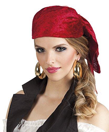 Kostüm Damen Offizier Deutscher - erdbeerclown - Samtartiges Piraten Kopftuch Kostüm, Rot