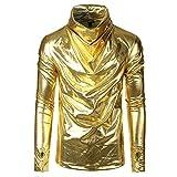 ZIYOU Herren Wickelbluse Hemd Persönlichkeit Stehkragen Handschuh Langarm T-Shirts Bluse Top(Gold,EU-54 / CN-3XL)