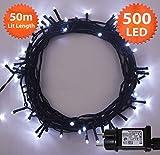 Weihnachts- LED Lichterketten 500 LED Helle weiße Baum-Lichter Innen- und im Freiengebrauch Weihnachtsschnur-Lichter Gedächtnisfunktion, Netzbetriebene - Grünes Kabel