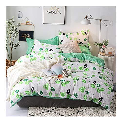 BORNET Bettwäsche-Set/Home Druckerei Blume Schlafzimmer 3 Stück Set Weiche Mikrofaser Bettwäsche 4teilig Mit Reißverschluss (1 Bettbezug Und 2 Kissenbezüge),Leaf-King -