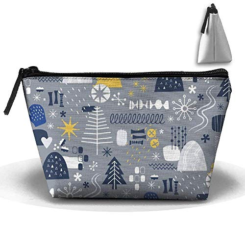 Winter Mod Winter Midcentury Barkcloth Mitten Zipper Closure Pouch Travel Multi-Functional Cosmetic Bags -