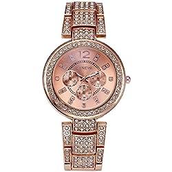 Geneva Platinum Big Size Studded Rose Gold Women's Timepiece - GP-279