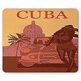 Mauspad Havanna-Mausunterlage Silhouette Einer Frau Mit Sonnenbrille, Die Das Retro Auto-Kaffee-Stärkungsgummi Mousepad Aprikose Und Zimt 25X30Cm Bereitsteht