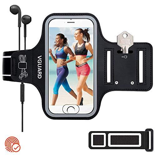 VGUARD Brazalete Deportivo para 6.5 Pulgados iPhone XS MAX/XS/ 8 Plus Caja del Brazalete Antideslizante para Deportes con Soporte para Llaves, Cables, Tarjetas y Banda Reflectante (Negro)