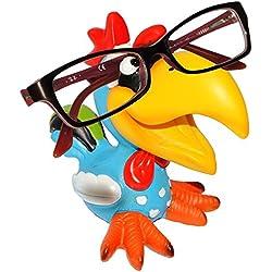 """Brillenhalter - """" lustiger Vogel - Tukan / Papagei Ara / Hahn - Gockel """" - stabil aus Kunstharz - universal Größe - für Kinder & Erwachsene / Brillenhalterung - lustiger Brillenständer - für Sonnenbrille Lesebrille - Brillenablage - Tier lustig - Deko Figur - Vögel exotisch / Karibik - Urlaub - Hühner"""