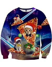 Idgreatim Unsiex Weihnachten Pullover Sweatshirts 3D Gedruckt Weihnachten Jumper Ugly Christmas Pullover
