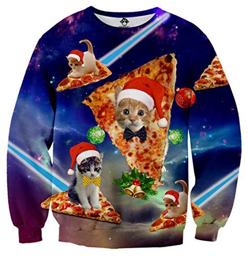 Idgreatim Männer Neuheit Weihnachten Pullover Sweatshirts Christmas Sweatshirt Crewneck 3D Pizza Katze Weihnachtsmann Grafik Langarm Pullover M