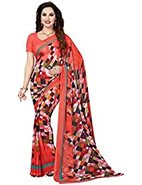 Ishin Faux Georgette Orange Printed Women's Saree/Sari