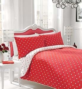 Polka Dot - Housse de couette et taie d'oreiller reversibles - lit simple - Pois Rouges et blancs